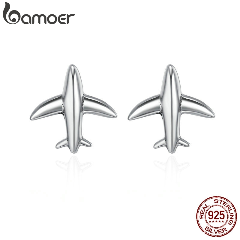 BAMOER 100% 925 Sterling Silver Exquisite Mini Airplane Aircraft Stud Earrings for Women Fashion Sterling Silver Jewelry SCE238 image