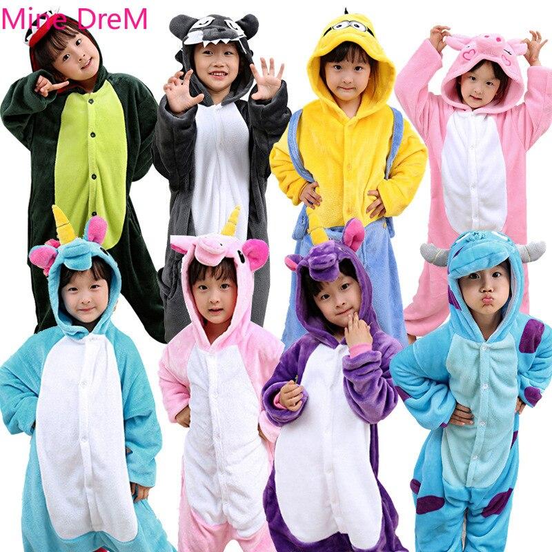 Winter Halloween Kinder Kigurumi Anime Kinder Kostüme Cosplay Cartoon Tier Nachtwäsche Einhorn Warme Mit Kapuze Robe Sets