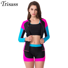 Swimwear Shorts Sleeve Four-Piece Women New Trisass Separate Long-Pants Professional