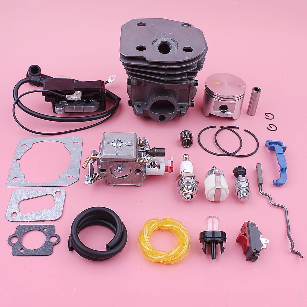 45mm Cylinder Carburetor Ignition Coil For Husqvarna 340 345 346XP 350 353 Piston Choke Throttle Rod Spring 537253102 503283210
