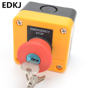 68mm Emergency Stop Push Button Switch There is a key 1NO 1NC 10A 250v Waterproof Box Hand-Held Explosion-proof anti