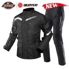 SCOYCO Chaqueta impermeable para motocicleta para hombre, traje de Moto, Chaqueta de Motocross con forro extraíble, protección para motocicleta