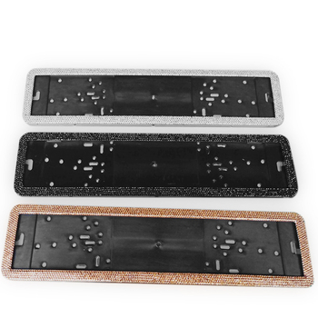 1pcs Car European License Plate Frame Luxurious Crystal Diamonds Alloy Steel European Number Plate Holder Front and Rear Plate