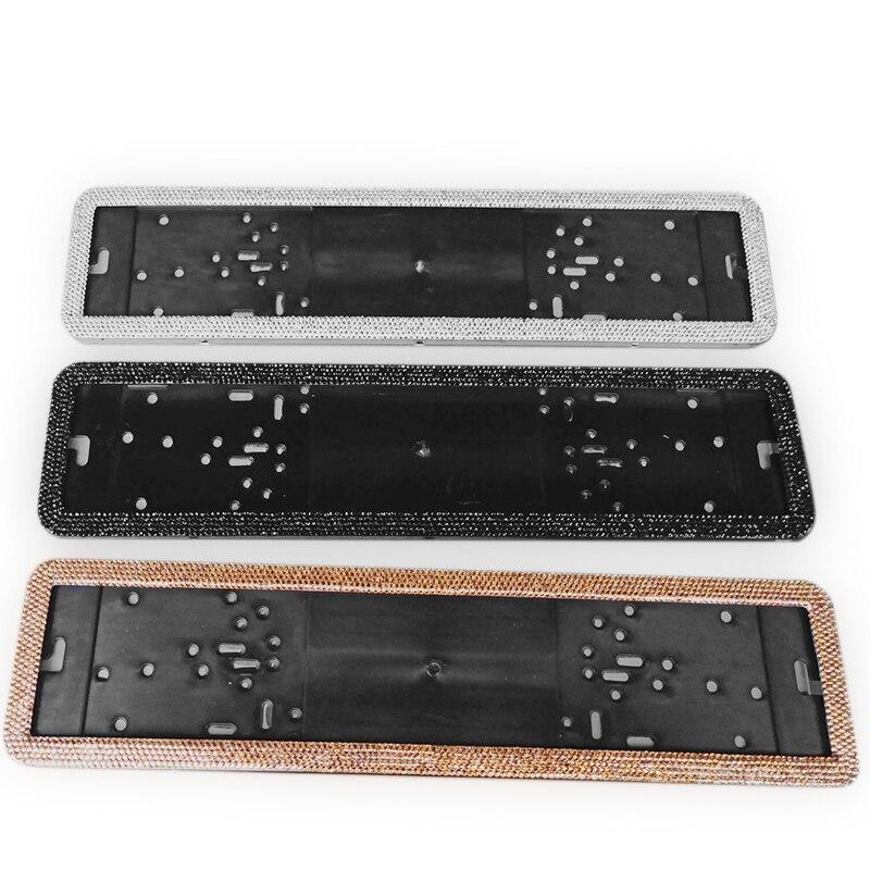 Plaque d'immatriculation et arrière 1 pièce | Cadre de plaque d'immatriculation européenne, diamants en cristal luxueux en acier allié, porte-plaque européenne, plaque avant et arrière