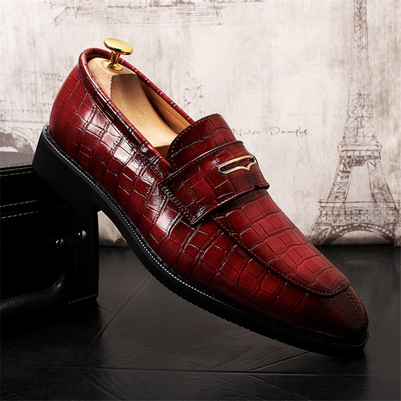 Men Dress Shoes Men Shoes Leather Oxford Shoes For Men Italian Fashion Slip-On Pointed Toe Genuine Leather Wedding Shoes