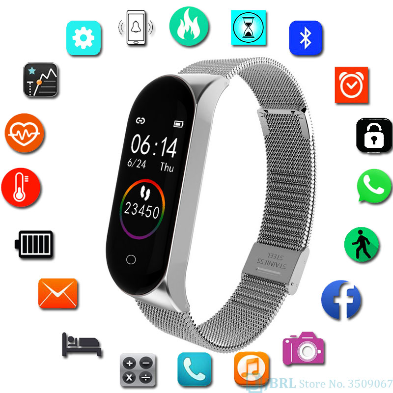 <font><b>Smart</b></font> <font><b>Watch</b></font> Stainless Steel <font><b>Smart</b></font> Clock Blood-Pressure Monitor Ios Android SmartWatch Activity Fitness Tracker for Men and Women image