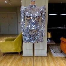 יוקרה כסף שיבה הביתה שמלת וינטג קצר אורך שמלת קוקטייל גבוה צוואר מיני פאייטים Vestido דה festa ערב הסעודית דובאי