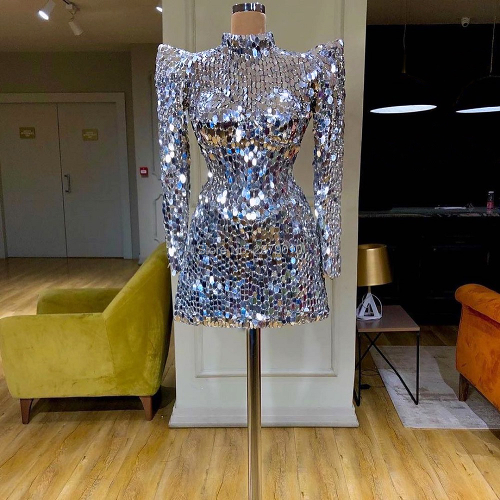 Luxury Silver Homecoming Dress Vintage Short-Length Cocktail Dress High Neck Mini Sequins Vestido De Festa Middle East Dubai