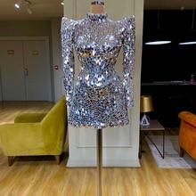 高級シルバー帰郷ドレスの長さのカクテルドレスハイネックミニスパンコールvestidoデ · フェスタサウジアラビアドバイ