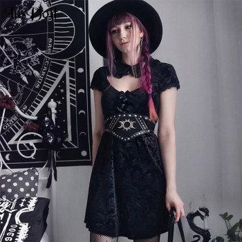 oxiuly vintage hollow out spaghetti strap floral print patchwork work dress a line female fit and flare knee length causal dress InsDoit Female Vintage Gothic Sexy Hollow Out Black Mini Dress Harajuku Lace Patchwork Retro Print Dress Streetwear Punk Dress