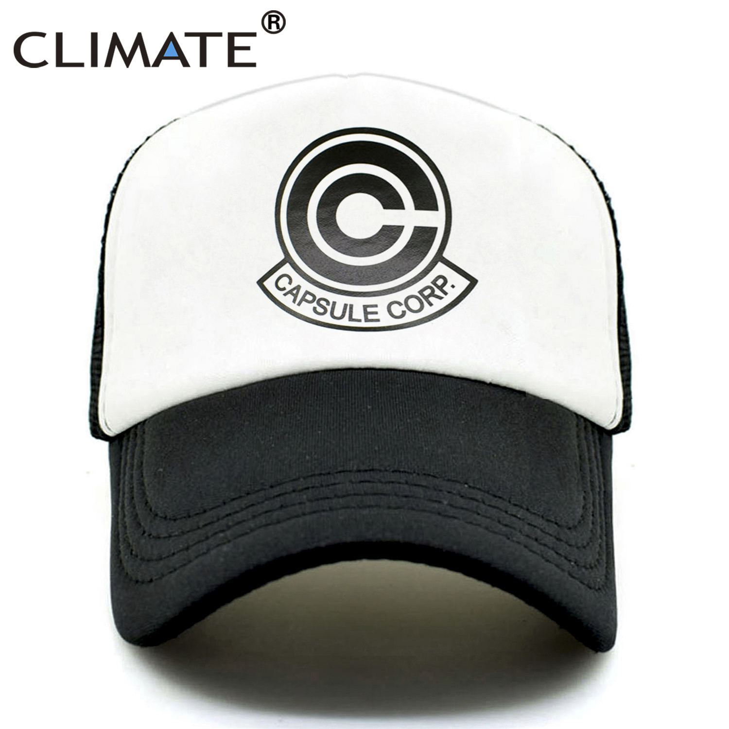 CLIMATE Dragon Ball Trucker Cap Hat The CAPSULE CORP. Mesh Cap Super Saiyan Hip Hop Cool Summer Caps Hat For Men Youth