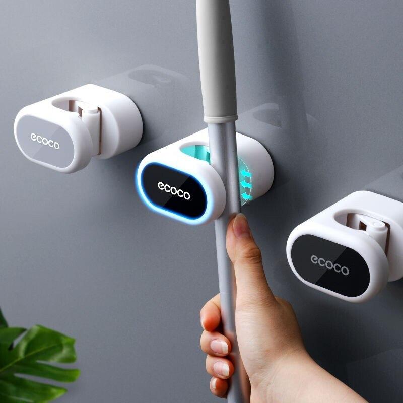 Drop Shipping Mop Broom Holder Wall Mounted   Household Adhesive Storage  Hanger  Hook Racks Kitchen Bathroom Organizer 1