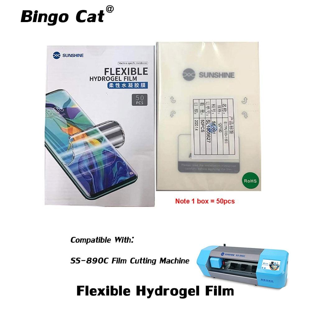 50pcs/lot Sunshine Flexible Hydrogel Film SS-057 For SS-890C Auto Film Cutting Machine Mobile Phone Screen Front Film Cut