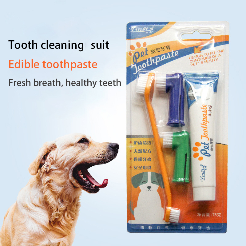 Pet Toothbrush Set Soft Pet Finger Toothbrush For Teddy Dog Brush Addition Bad Breath Tartar Teeth Care Cleaning Supplies image