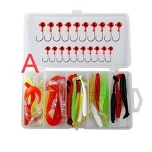 цены Fishing Lure Kit Soft Worm Bait Jig Head Worm Hook Weight Lead Sinker Single Tail Grub  Lead Hooks Set Box Artificial Bait