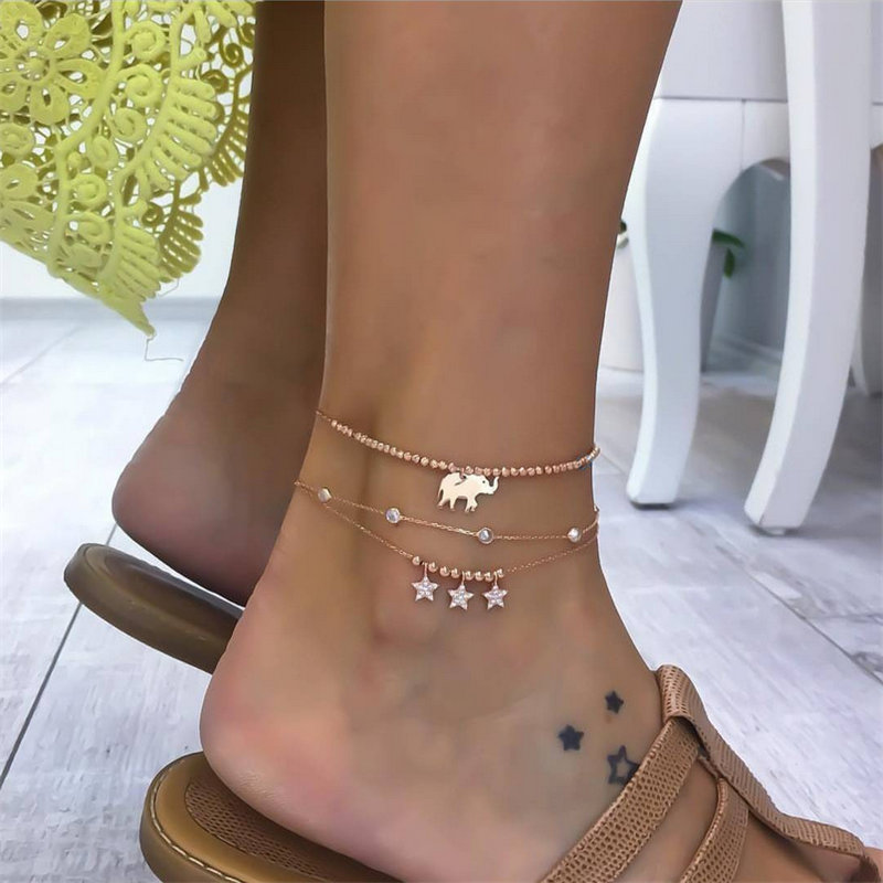 NEWBUY 3pcs/set Trendy Women Anklets Summer Beach Jewelry Accessories Gold Color Cute Elephant Star Charm Bracelets For Ankle