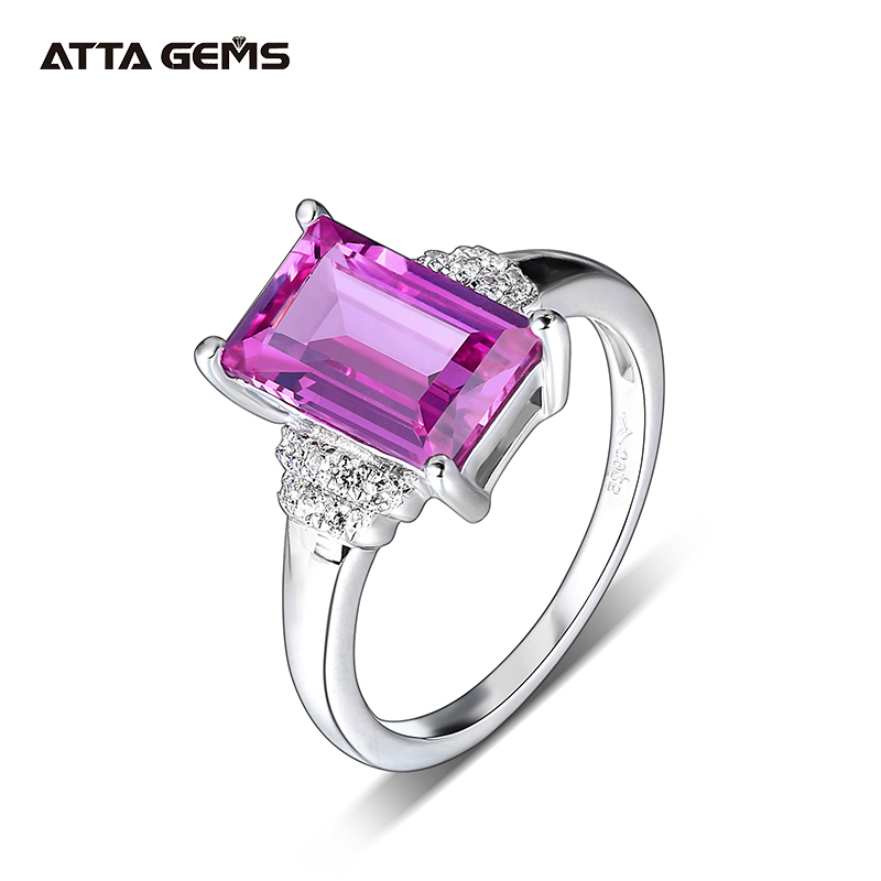 Purple Sapphire Sterling Silver Rings for Women 3.2 Carats Created Sapphire Baguette Cut Special Sapphire Classic Design