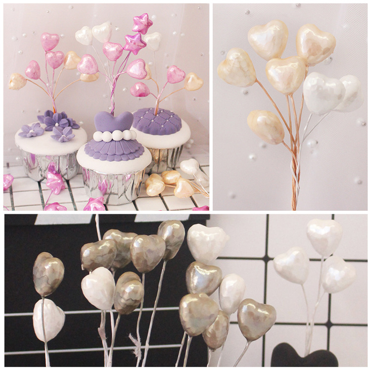 10pcs Pearl Color Small Balloon Love Star Cake Bowler Plug Wedding Dessert Table Decoration Toys For Children Birthday Party Toy
