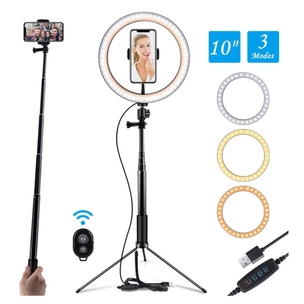 10inch Selfie Ring Light with Tripod 360-degree Rotatable Ball Head Stabilizer Dimmable USB Ring Light for Photography Streaming