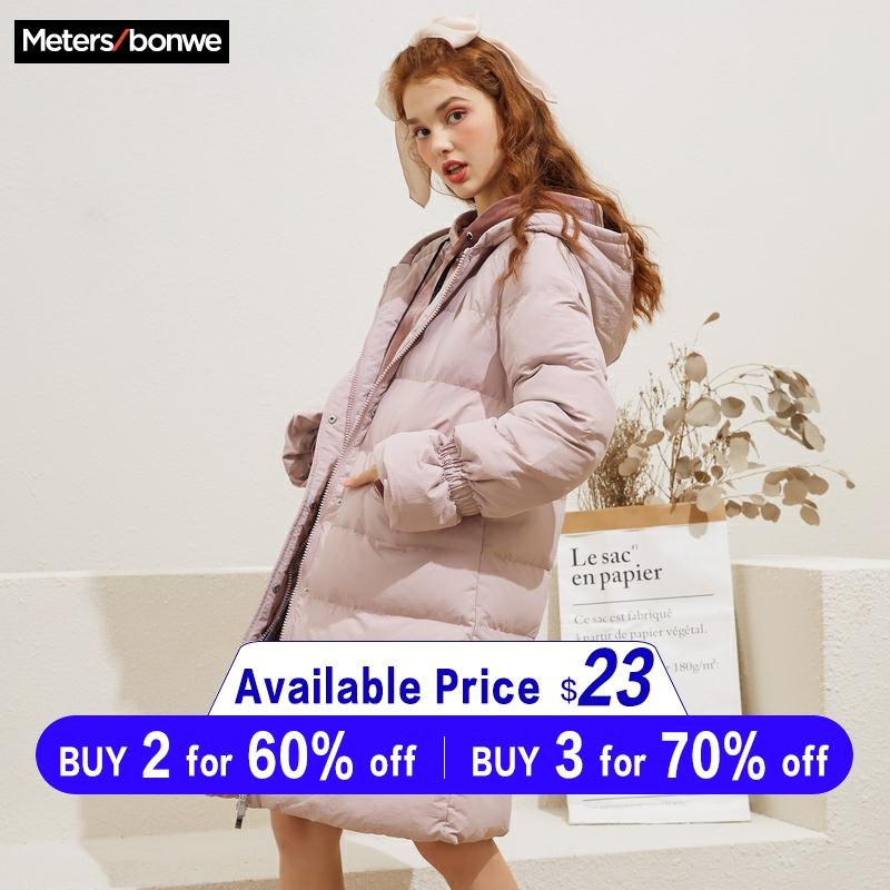 Metersbonwe Winter Women Long   Down     Coat   Fashion Female Flare Sleeve Jacket Warm Cotton Jacket Casual Women Cotton clothing