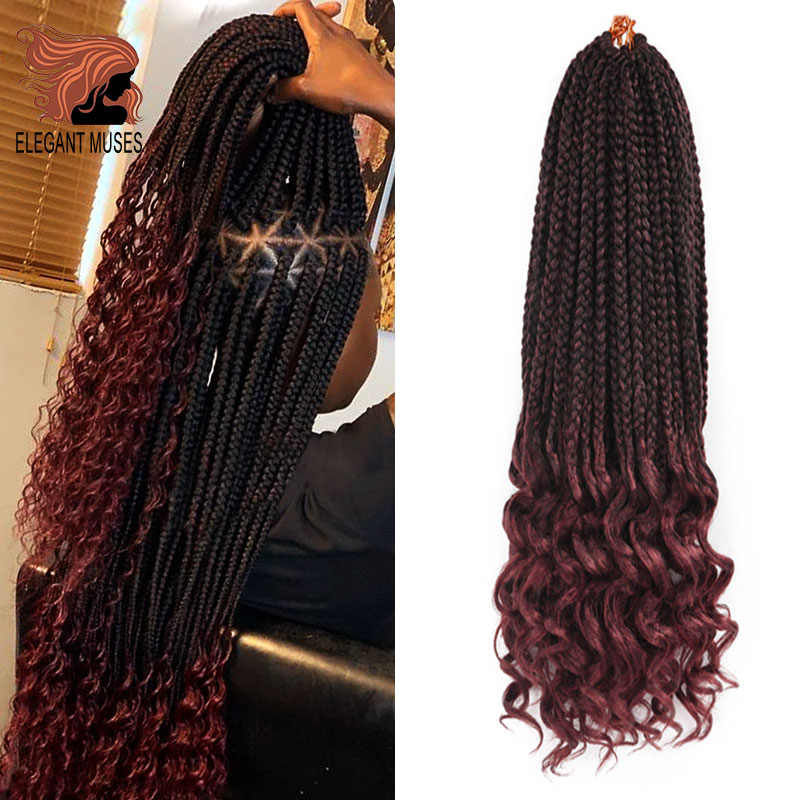 Box Braids Crochet Hair With Curly Ends 24inches 22 Roots/pieces Goddess Box Braids Hair Extensions Soft Fiber Braiding