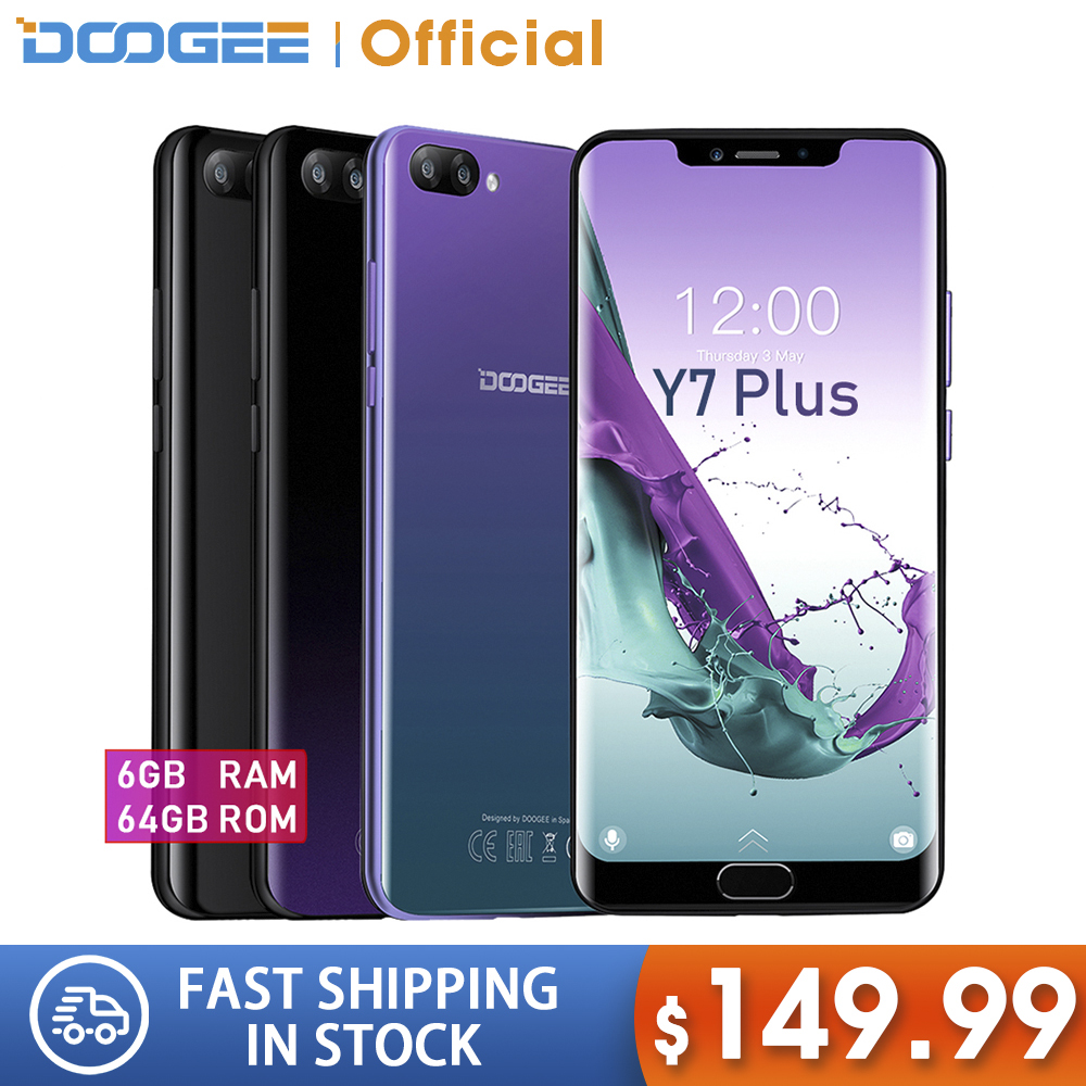DOOGEE Y7 Plus CellPhone 6.18inch 1080*2246 Screen MTK6757 Octa-Core 2.5GHz 6GB RAM 64GB ROM 16.0MP+13.0MP 5080mAh Android 8.0