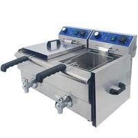 Fritadeira elétrica de aço inoxidável comercial tanque gêmeo gordura fritadeira multifunções fritura frita peixe frito frango batatas fritas|Fritadeiras elétricas| |  -