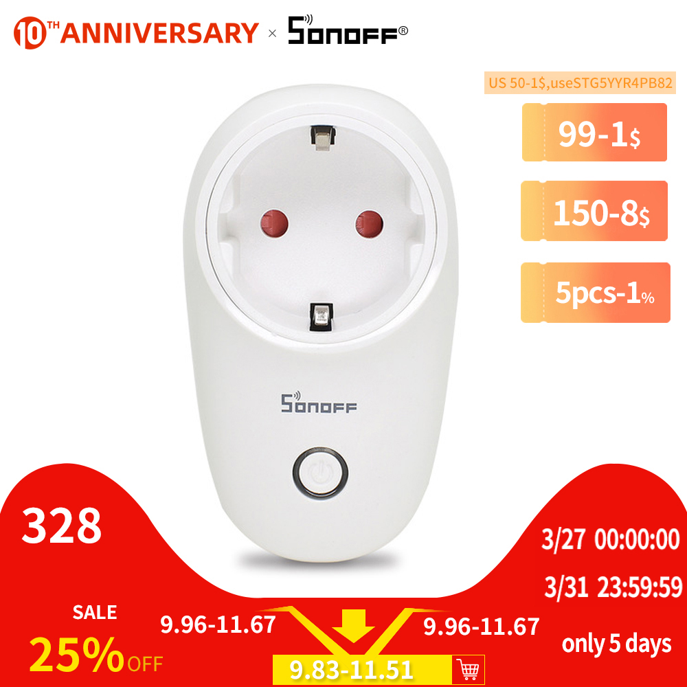 SONOFF S26 EU EU-E/EU-F/UK/AU/US 220V 10A Smart Plug Wifi Power Socket Timer Outlet Remote Alexa Google Home IFTTT Compatible(China)