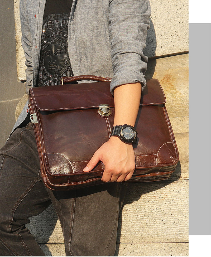 """H204782754c8242f183cedab4ff9e4218K Men's genuine leather briefcase 16"""" Big real leather laptop tote bag Cow leather business bag double layer messenger bag"""