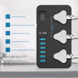 Image 4 - Listwa zasilająca inteligentne gniazdo USB Adapter ochronnik przeciwprzepięciowy 3 Way AC uniwersalne gniazda wtyczka elektryczna ue/usa UK/AU 2m przedłużacz