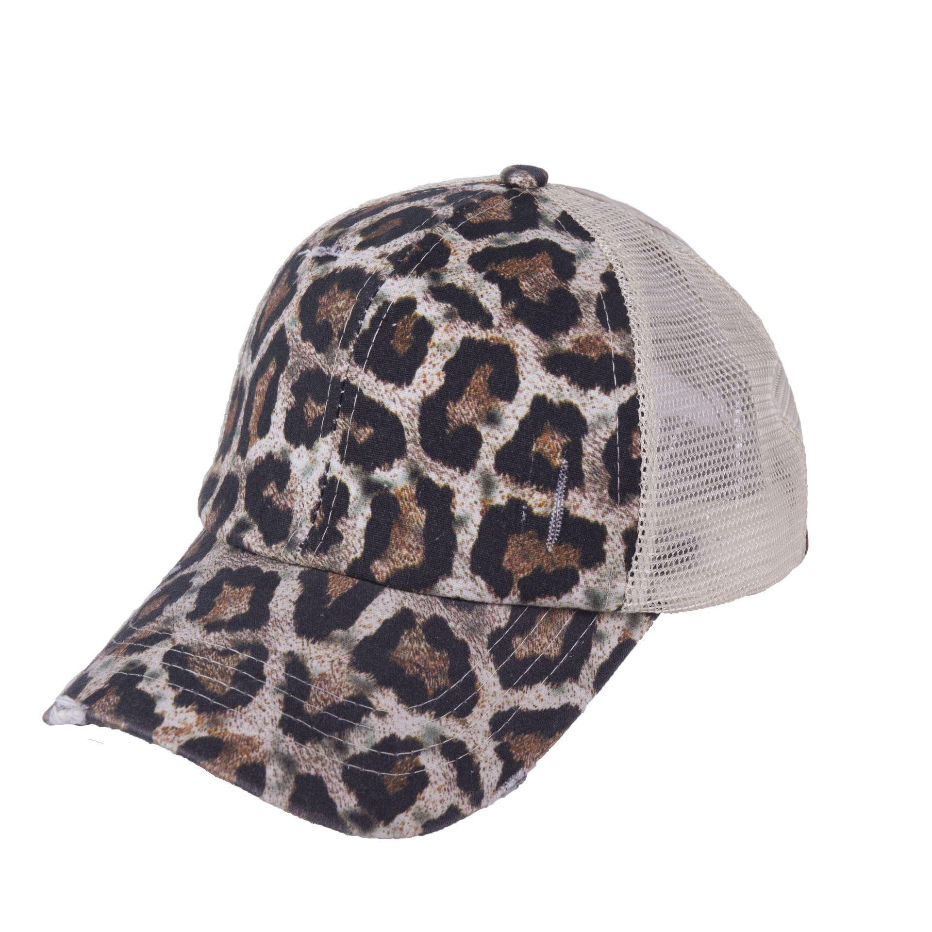 5pcs Sample Leopard Torn Mesh Hat With Adjustable Buckle Camo Sun Hat Mesh Summer Hat DOM1061618