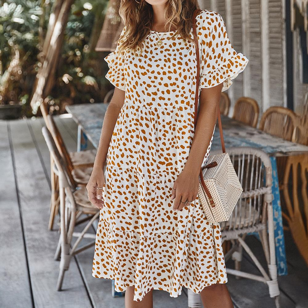 Boho Womens Holiday Strappy Button Bandage Summer Beach Swing Spotted Midi Dress