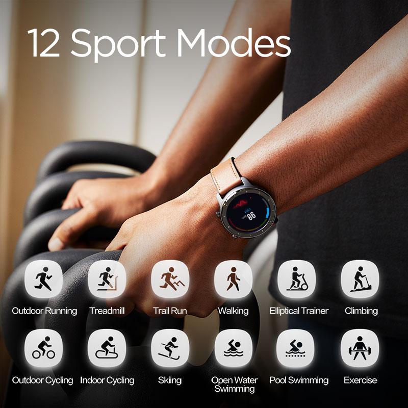 Versión Global Amazfit GTR 47mm reloj inteligente 5ATM reloj inteligente impermeable 24 días batería Control de música cuero silicona Correa - 3