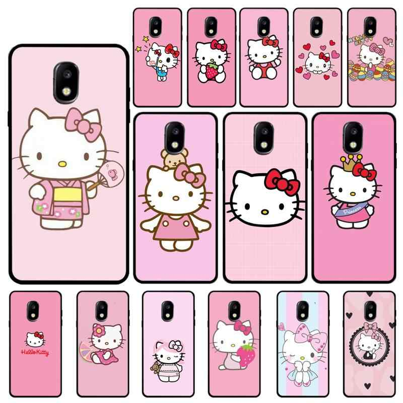 Yndfcnb Pink Cute Hello Kitty Black Soft Phone Case For Samsung Galaxy J7 J6 J6plus J8 J4 J4plus J7duo J7neo J2 J5 J6 J7 Prime Phone Case Covers Aliexpress
