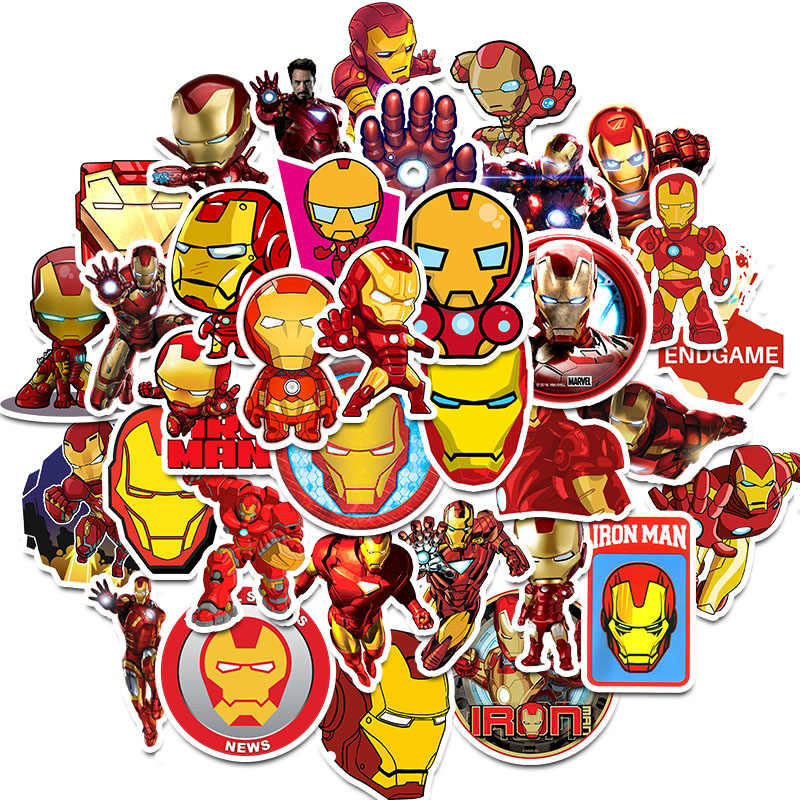 35Pcs Marvel Avengers Heroes Iron Man Stickers for DIY Sticker on Luggage Laptop Bicycle Fridge Car Skateboards