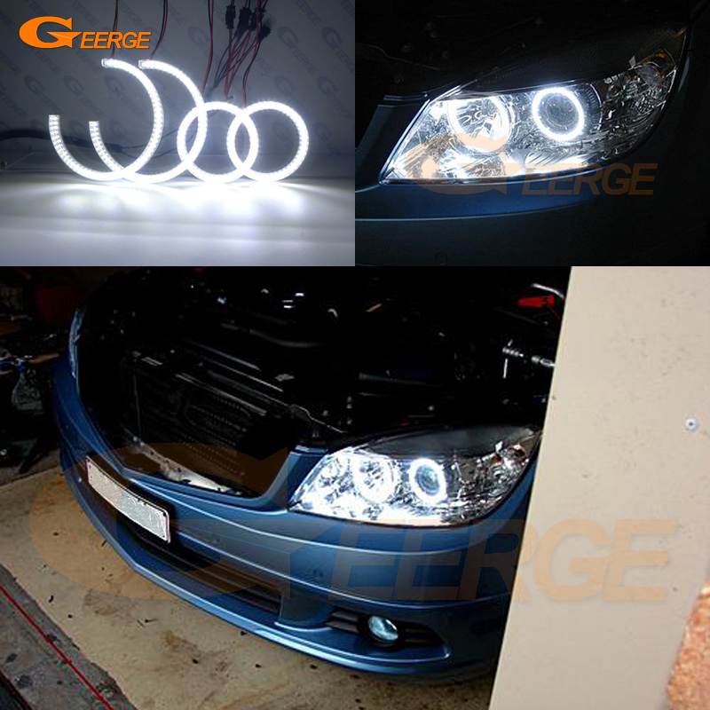 For <font><b>MERCEDES</b></font> BENZ C Class W204 C280 <font><b>C300</b></font> C350 C63 2007-2011 pre facelift Excellent Ultra bright smd led Angel Eyes kit DRL image