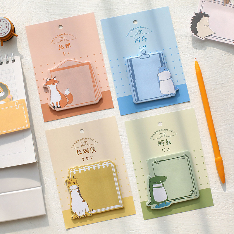 30 Sheets Kawaii Giraffe Penguin Lion Sticky Notes Cute Animal Planet Memo Pad Message Notepad School Office Stationery Supplies