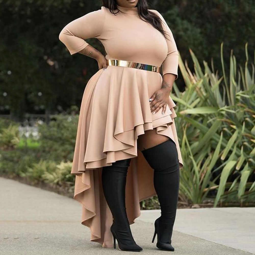 Vestidos de talla grande para mujeres 4xl 5xl 6xl para damas otoño cuello alto asimétrico Falbala alto bajo vestidos de fiesta volantes