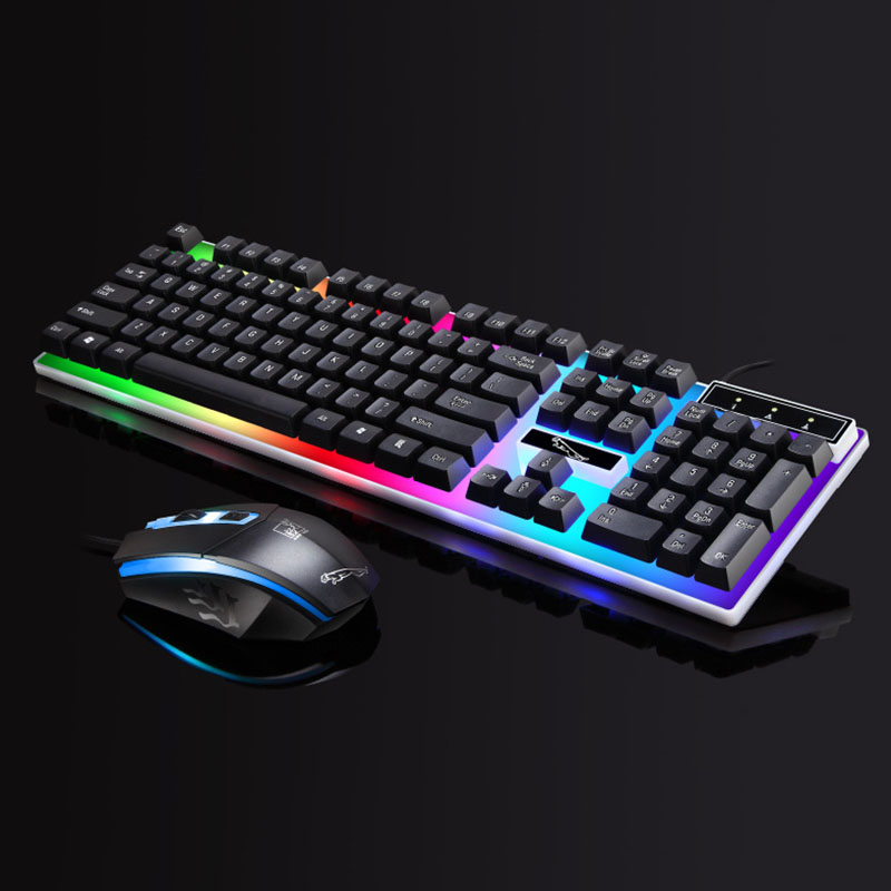 Colorful LED Illuminated Backlit USB Wired PC Gaming Mechanic Keyboard Mouse Set Gamer Gaming Mouse And Keyboard Kit Home Office