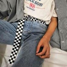 Eam – ceinture classique en tissu à carreaux noir et blanc, pour hommes et femmes, styliste général