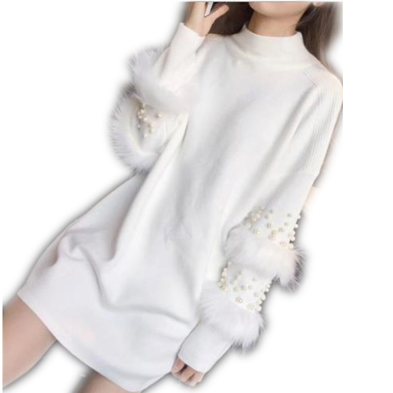 Half Turtleneck Long Sleeve Sweater Dress Pullovers Women Autumn Winter Loose Tunic Knitted Casual Patchwork Pearls 2019New H092