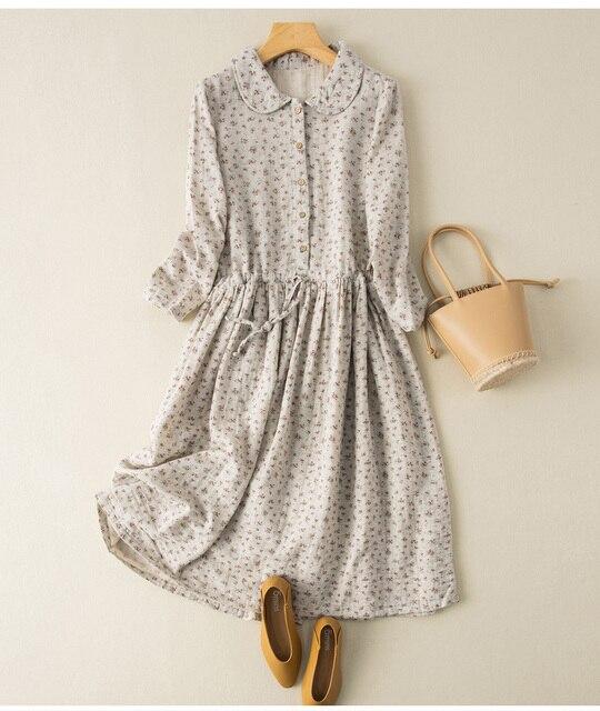 Soft Cotton Yarn Drawstring Peter Pan Collar Long Sleeve Floral Dress 2