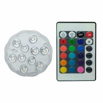 Linterna Led Acuática, 10 leds, de Color, Sumergible, para Acuario, Posavasos