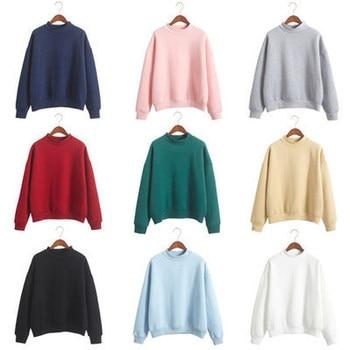 цены 2019 New Social Harajuku Hoodies For Girls Solid Color Hooded Tops Women's Sweatshirt Long-sleeved Winter Velvet Thickening Coat