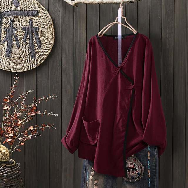 Long Sleeve Linen Blouse  4