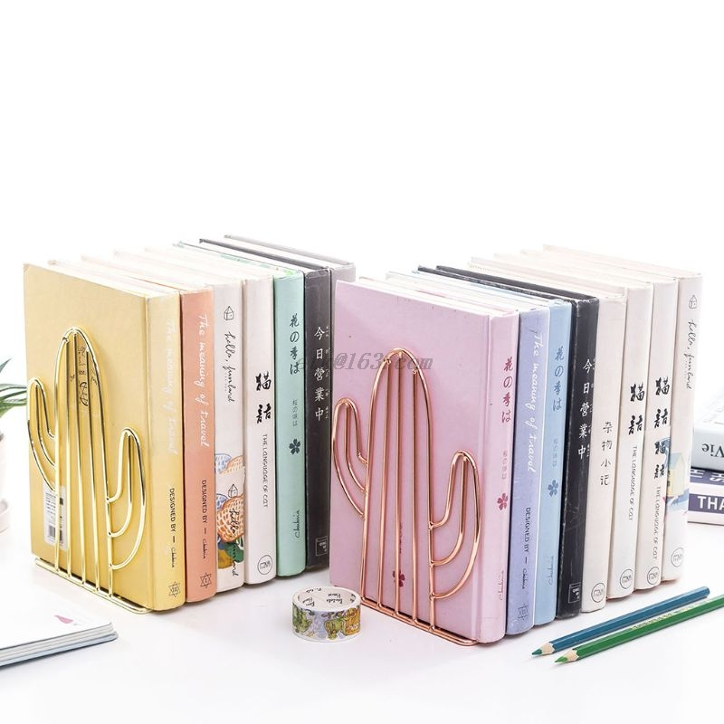 2PCS/Pair Creative Cactus Shaped Metal Bookends Book Support Stand Desk Organizer Storage Holder Shelf 4