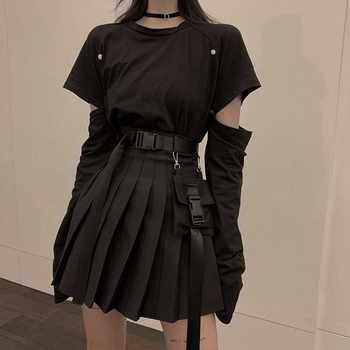 NiceMix conjunto de color negro A-line mujeres Sexy Mini falda de cintura alta Streetwear mujeres Punk estilo de bolsillo lateral de moda diseño Falda plisada