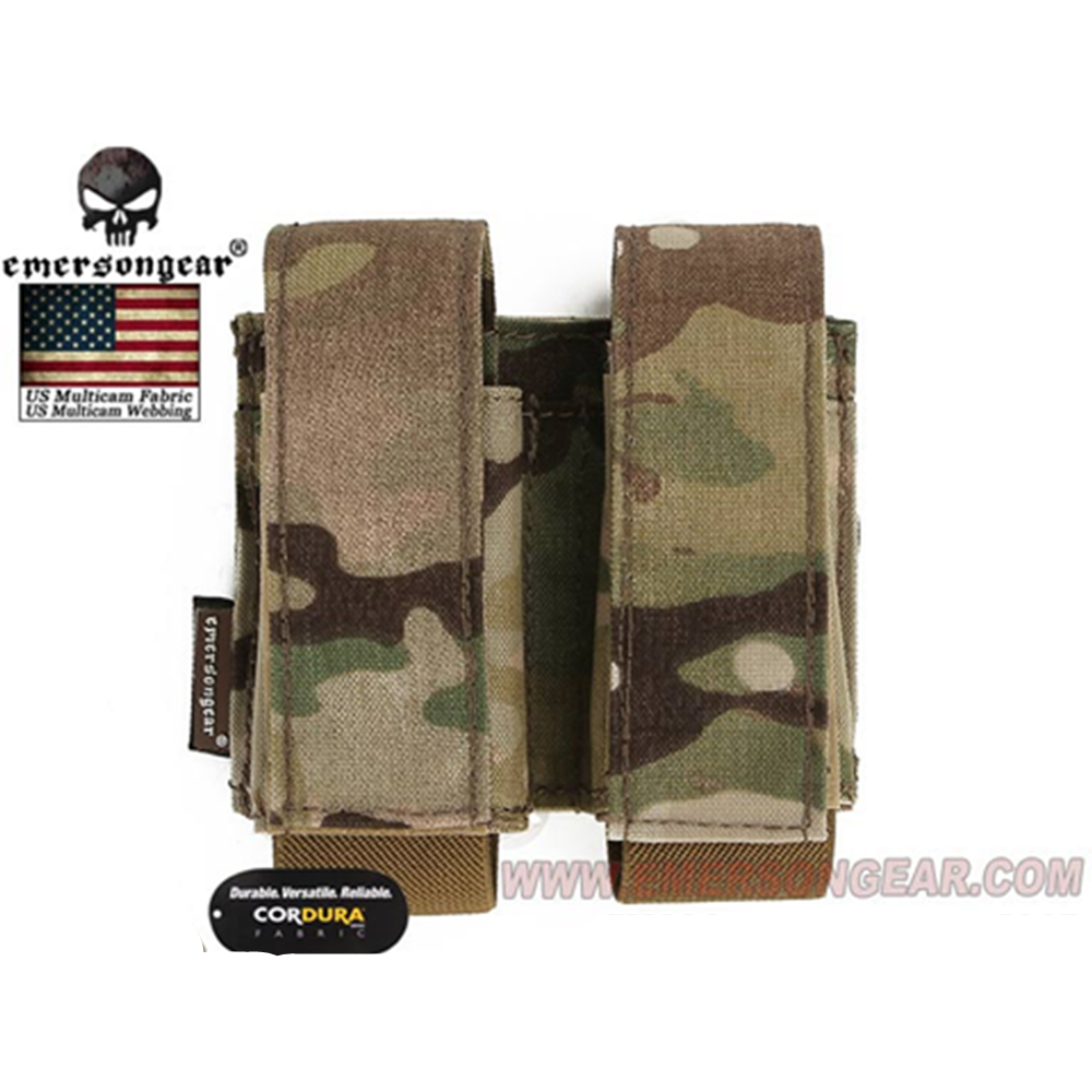 emersongear Emerson Tactical Double 40mm Grenade Pouch 9mm MOLLE Magazine Pouch Holder Carrier Ammo Bag airsoft pouch-in Pouches from Sports & Entertainment
