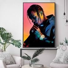 Travis Scott Music Star Rap Hip Hop Rapper Fashion Model Art Painting Silk Canvas Poster Wall Home Decor