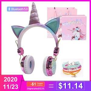 Unicorn Headphones Bluetooth 5.0 Cute Girl casco Wireless Headphones headset with microphone Wireless Auriculares Christmas gift